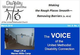 image of the head of The Voice: disability ministries logo, photo of a platform lift