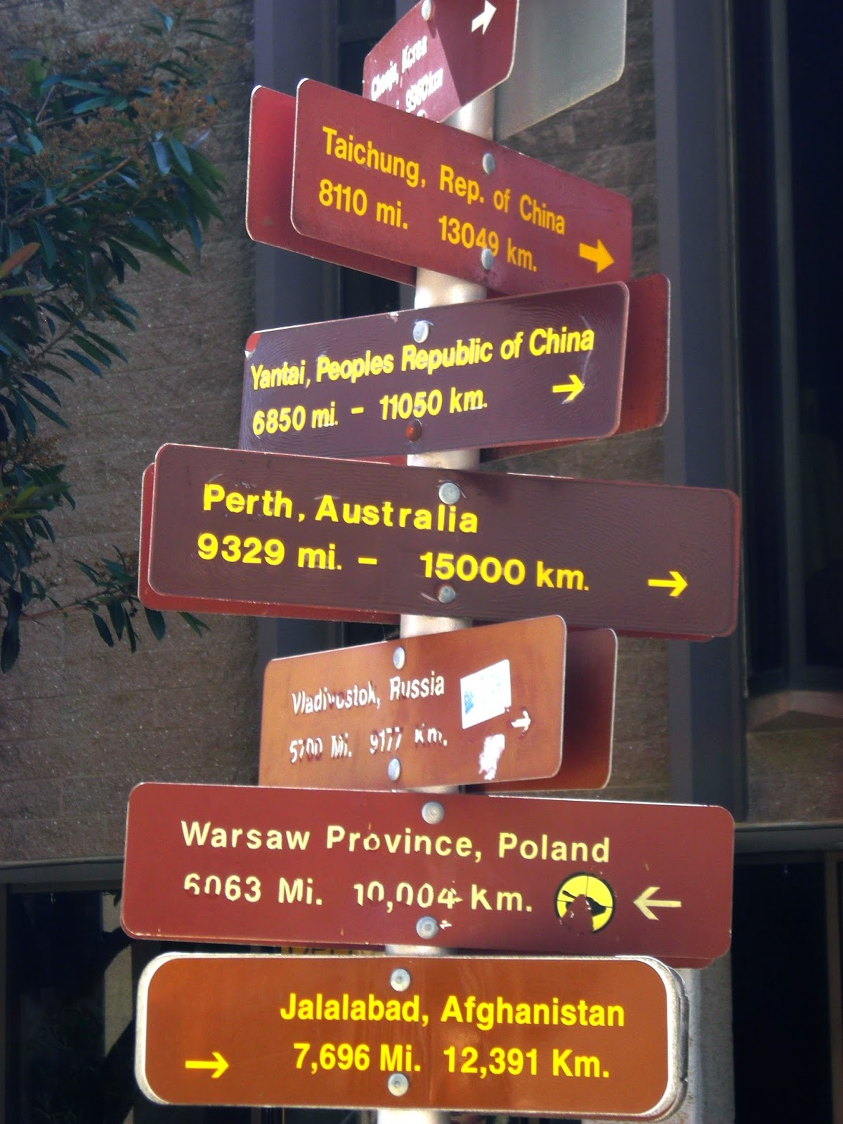 Road sign, San Diego showing distance to other world cities