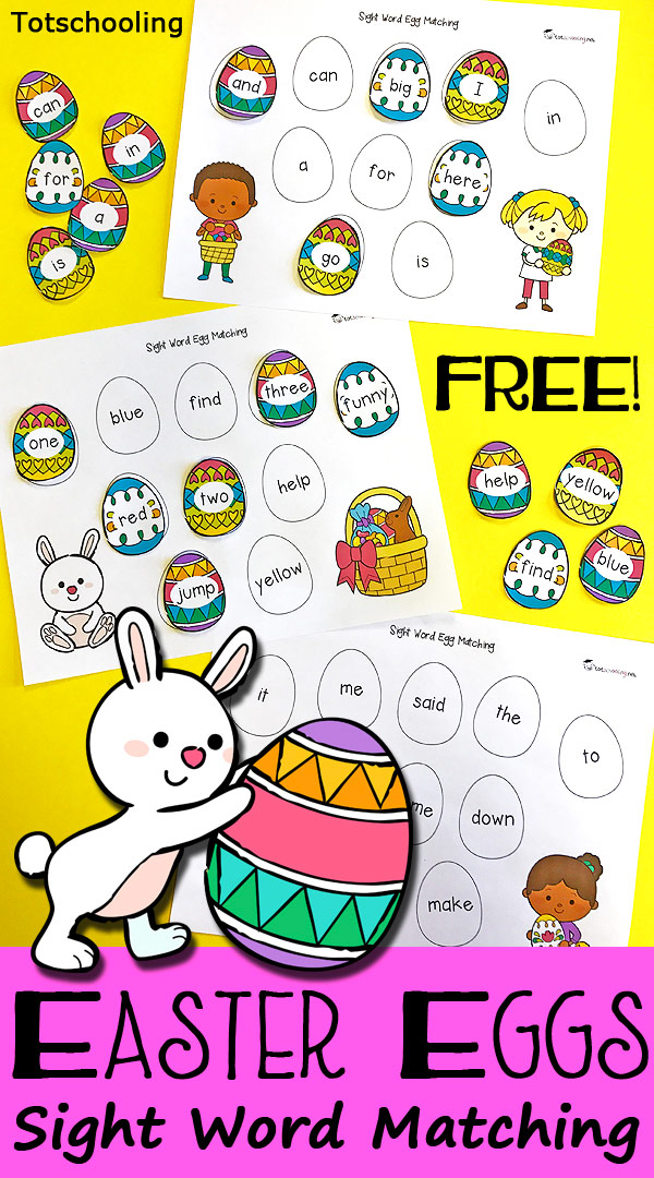 FREE Easter Sight Word matching activity featuring all 40 dolch pre-primer sight words, cute Easter children, eggs and bunny. Great for preschool or kindergarten for a fun twist on a traditional egg hunt.