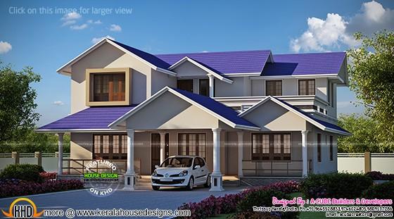 Blue roof house design