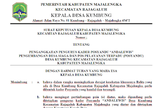 Contoh SK Kepala Desa untuk Pengangkatan Kader Posyandu