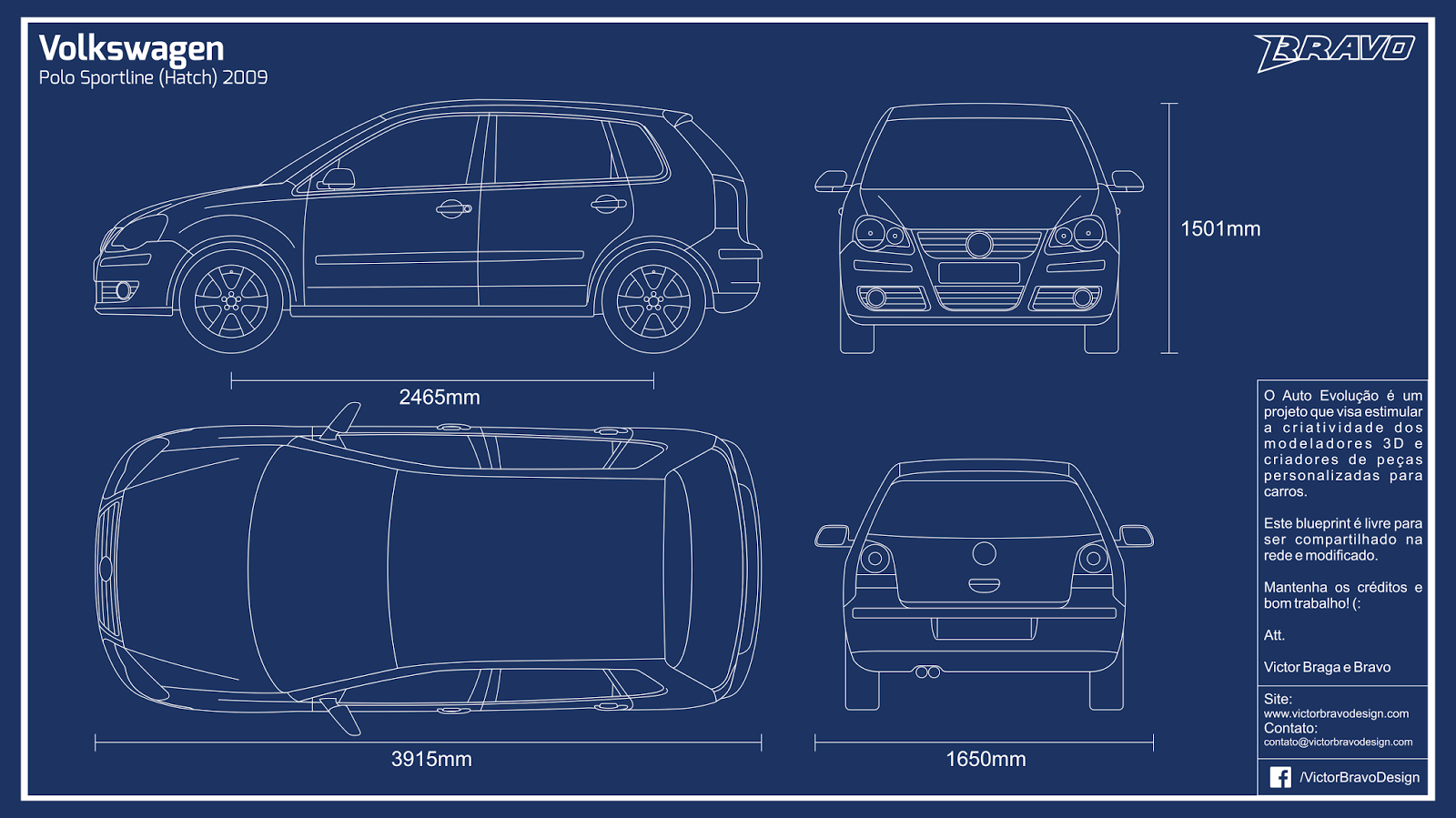 Imagem do blueprint do Volkswagen Polo Sportline (Hatch) 2009