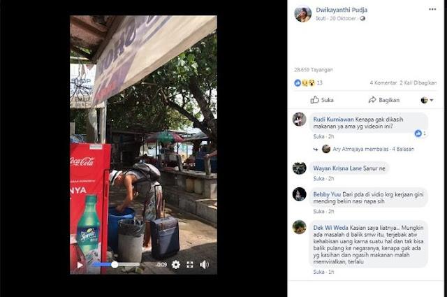 Heboh Foto Turis Asing di Bali Mengais Makanan di Tong Sampah