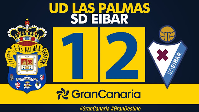 Marcador final UD Las Palmas 1-2 SD Éibar