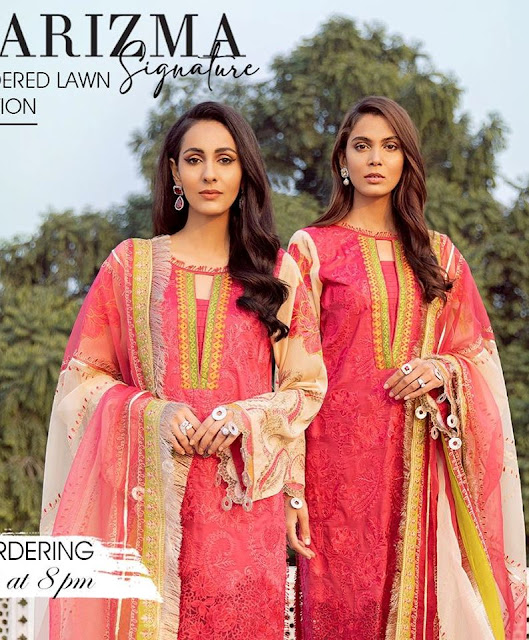Price of Charizma Narangi Embroidered Premium Lawn Suit Collection 2020 Buy Online