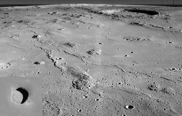 Vùng Đồi Marius và hang động trên Mặt Trăng. Hình ảnh: NASA, Lunar Orbiter 2; Ảnh nhỏ: Lunar Reconnaissance Orbiter.