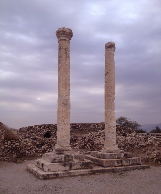 The two high columns in Bishapur, known as the memorial monuments.