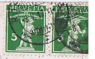 Stamps from one of Connie's postcards home, The Leybourne Family