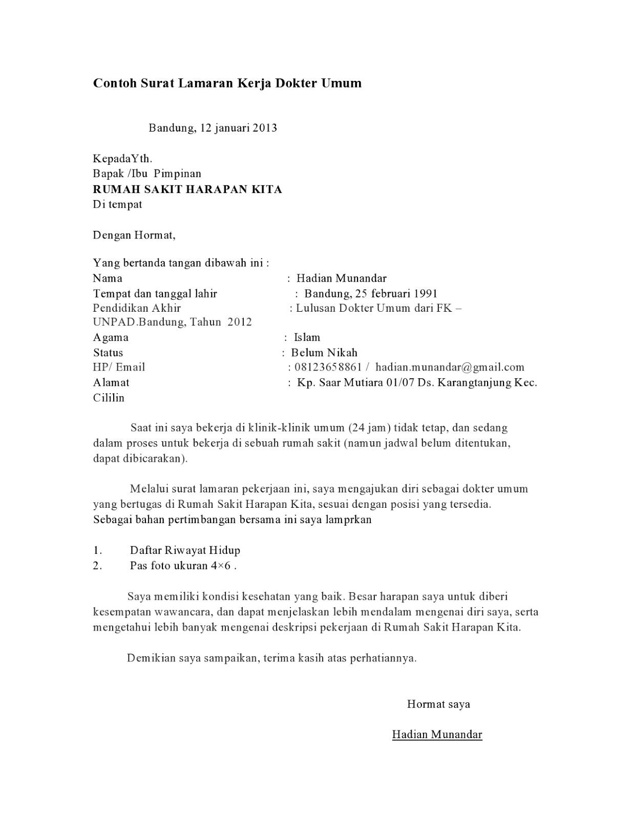 76 Contoh Surat Lamaran Kerja Untuk Rumah Sakit Hermina