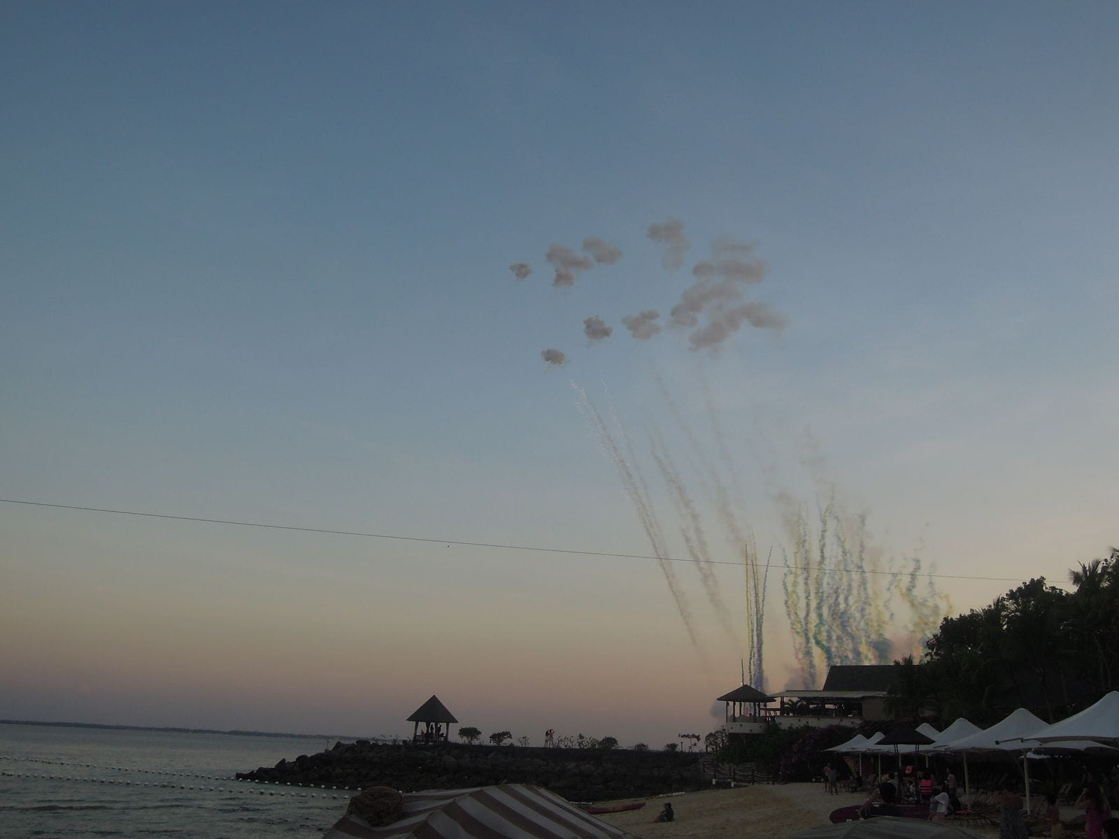 Fireworks in the sky as viewed from the beach
