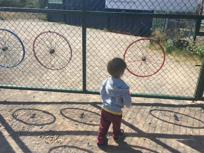 #MySundayPhoto-number-20-toddler-shadows-of-wheels-Cardiff-Bay