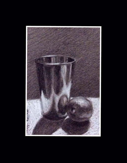 still life painting of a glass and a lemon on grey paper by Manju Panchal