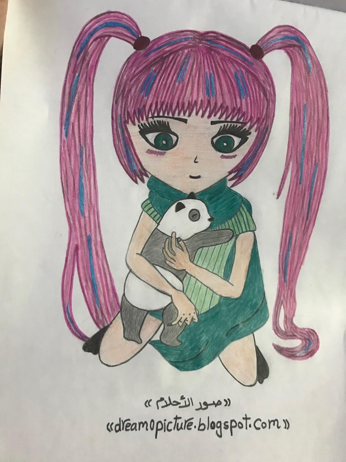 رسم بنات جميلة بالألوان عالم الكتب