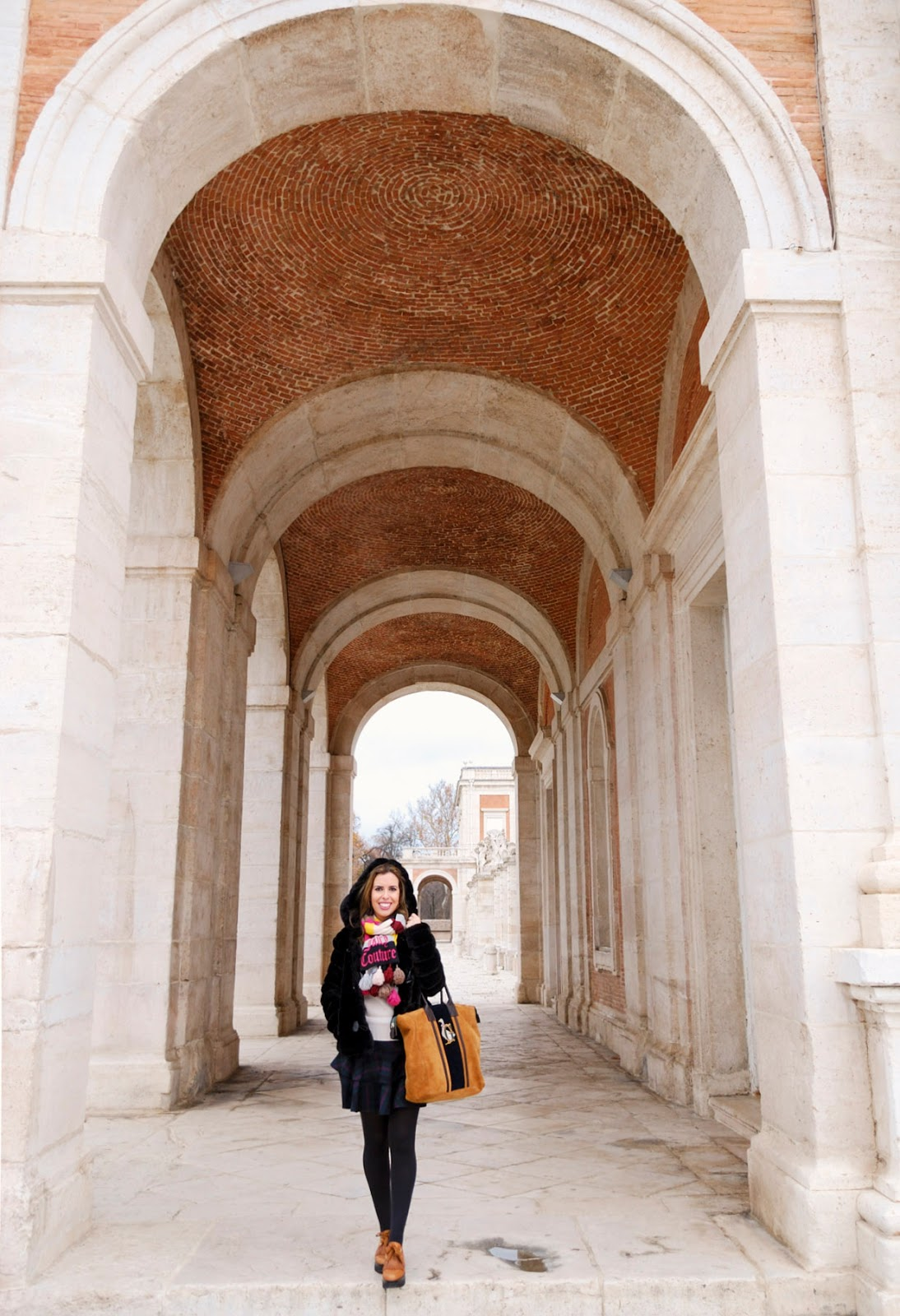 aranjuez madrid winter royal palace gardens spain travel outfit