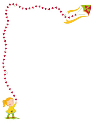 bordes animados de colores gratis para descargar con corazones y una niña volando un papelote
