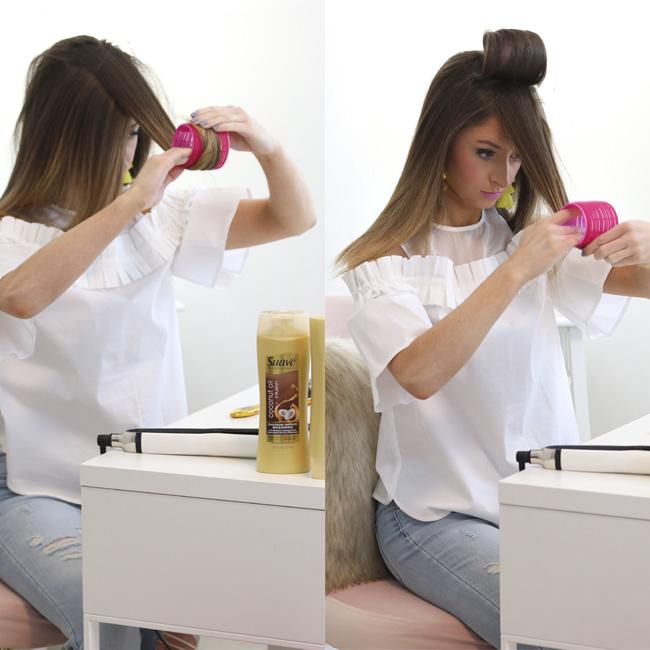 placing jumbo velcro rollers in hair