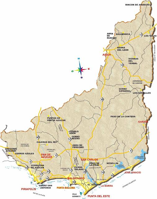 Mapa do Uruguai - Departamento de Maldonado