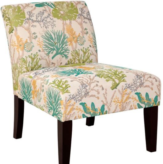 Armless Coastal Upholstered Chair Coral Reef