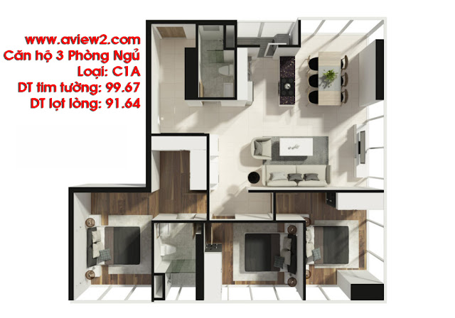 Mặt bằng căn hộ Aview 2 - Loại căn hộ 3PN