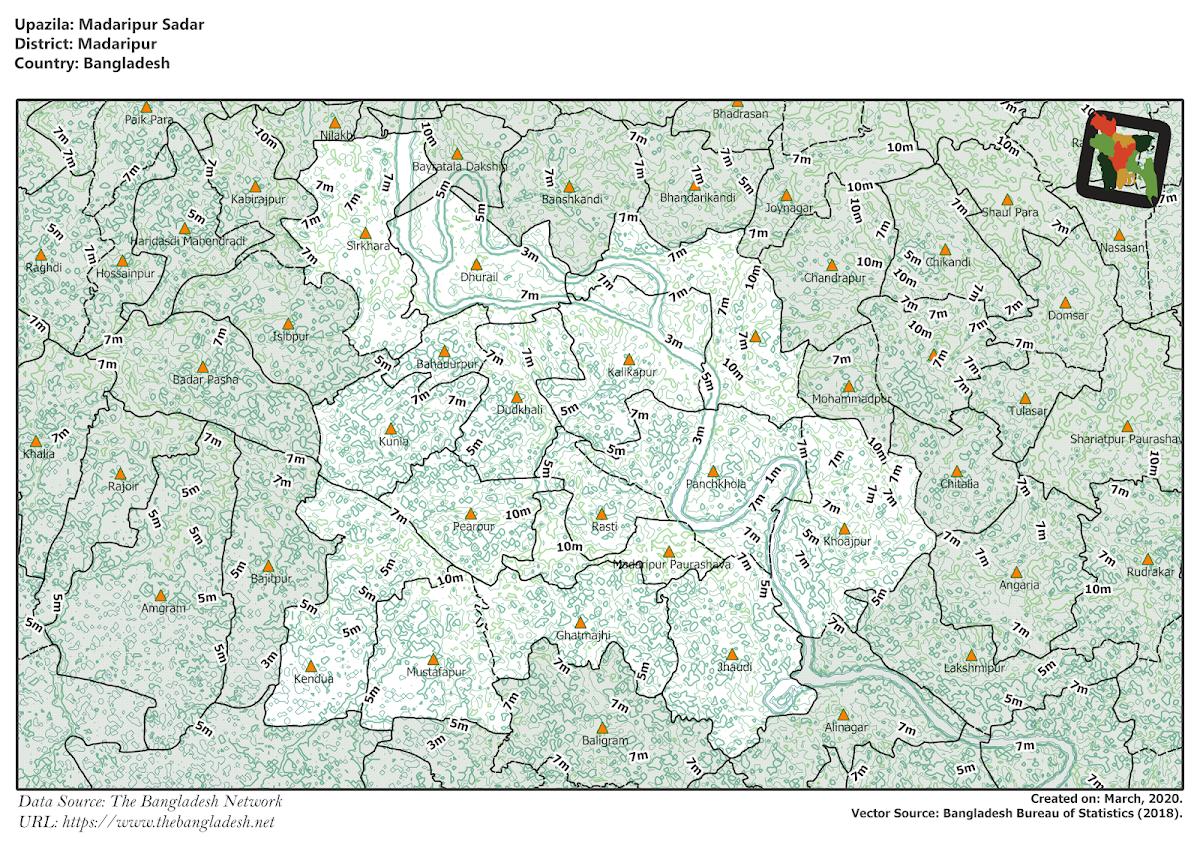 Madaripur Sadar Upazila Elevation Map Madaripur District Bangladesh