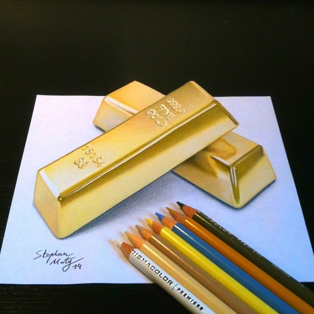 15-Gold-Bar-Ingot-Stephan-Moity-2D-Drawings-Optical-Illusions-made-to-Look-3D-www-designstack-co