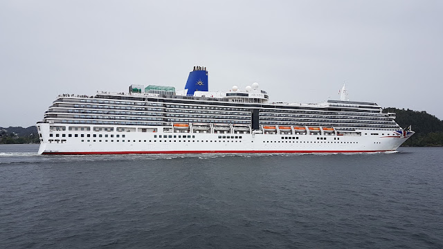 P&O Cruise ship Arcadia departing Bergen, Norway; Cruise ships in Bergen