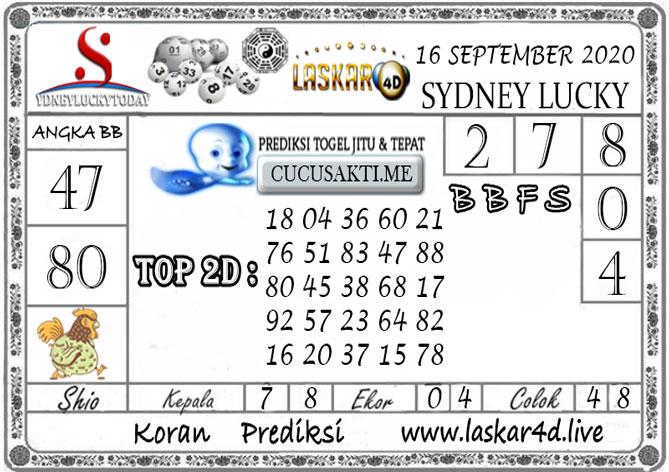 Prediksi Sydney Lucky Today LASKAR4D 16 SEPTEMBER 2020