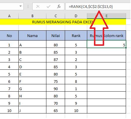 Menentukan Rangking Nilai Menggunakan Excel Secara Otomatis