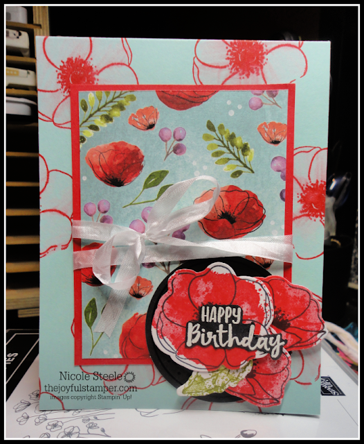 Stampin' Up!'s Painted Poppies set with Peaceful Poppies Designer Series Paper and Sending You Thoughts free Sale-A-Bration set | by Nicole Steele The Joyful Stamper
