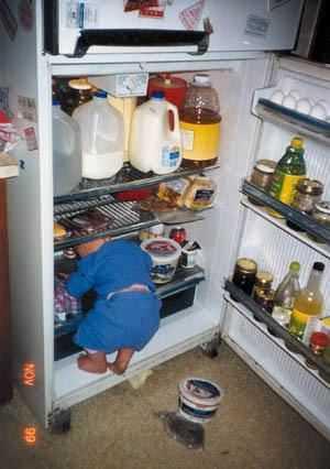 Little kid looking into the fridge