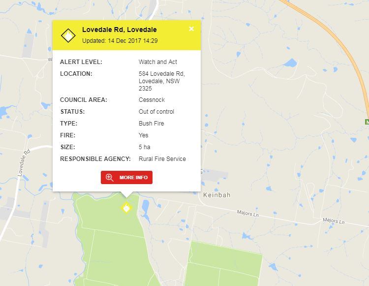 2NURFM Hunter News: UPDATE: Fire burning at Lovedale now