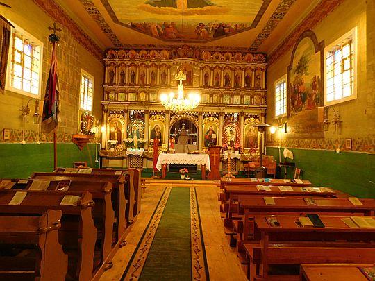Wnętrze cerkwi św. Dymitra w Radoszycach.