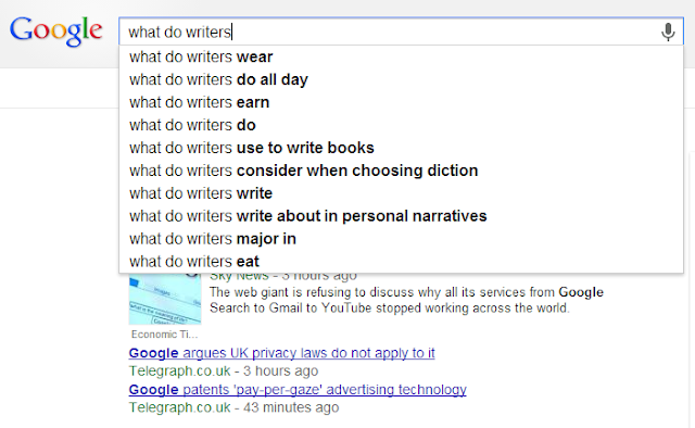 FIVE WRITER QUESTIONS ANSWERED #2: GOOGLE AUTOCOMPLETE SERIES