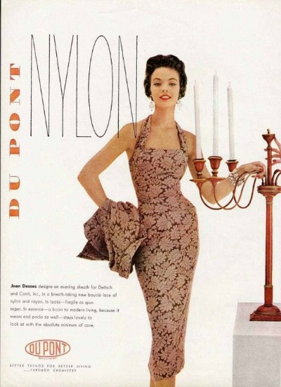 Magazine advertisement for Dupont Nylon  showing sheath dress designed by Jean Dessés