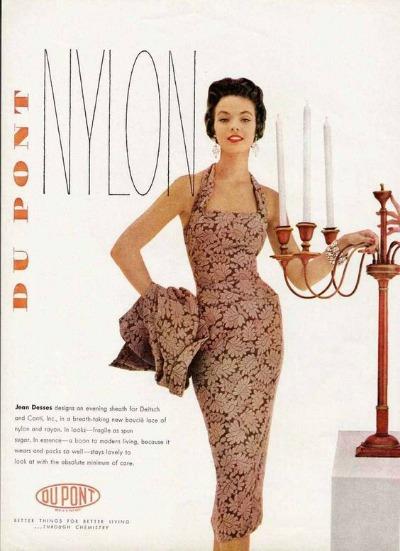Magazine advertisement for Dupont Nylon  showing sheath dress designed by Jean Dessés