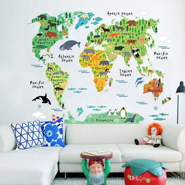 تزيين جدار غرفة لعب الاطفال بخريطة العالم