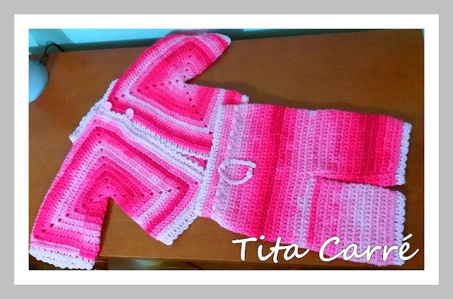 Conjunto Rosa para bebê em crochet