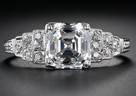 2.03 carat asscher cut diamond engagement ring. Via Diamonds in the Library.