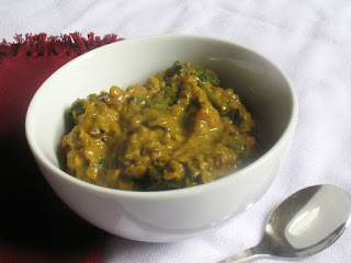 Turmeric Spiked Red Lentil and Spinach Dal