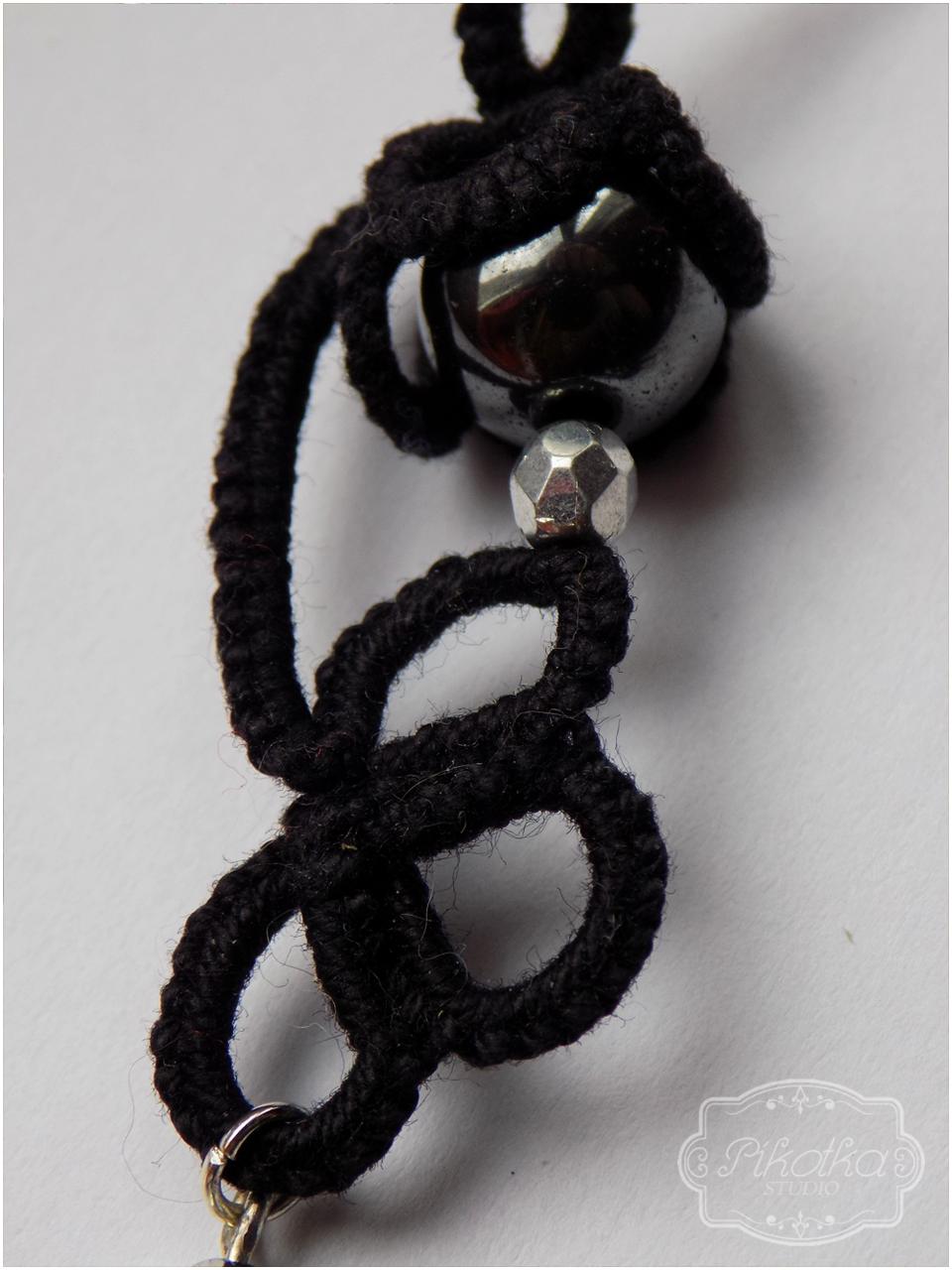 frywolitka, kolczyki, hematyt, biżuteria, handmade, rękodzieło, tatting, earrings, firepolish,