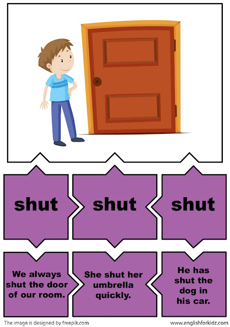 irregular verbs  flashcards for english learners, verb shut