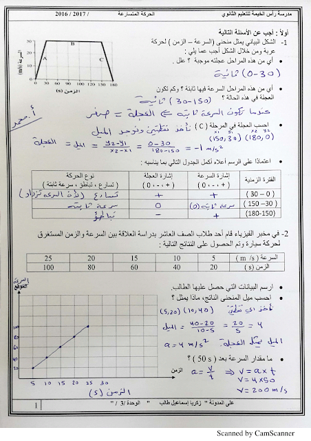 مراجعة الحركة المتسارعة فيزياء للصف التاسع متقدم الفصل الأول 2019