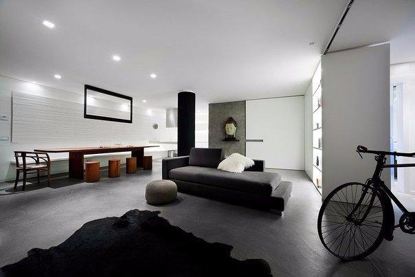 современная гостиная в стиле loft белая