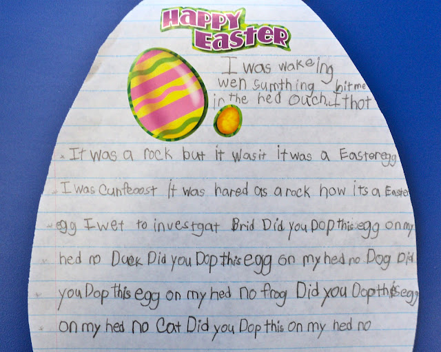 Easter sticker story writing and a cute rabbit art project. Perfect for early learners!