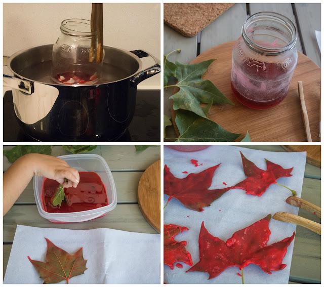 diy teñir hojas secas con cera
