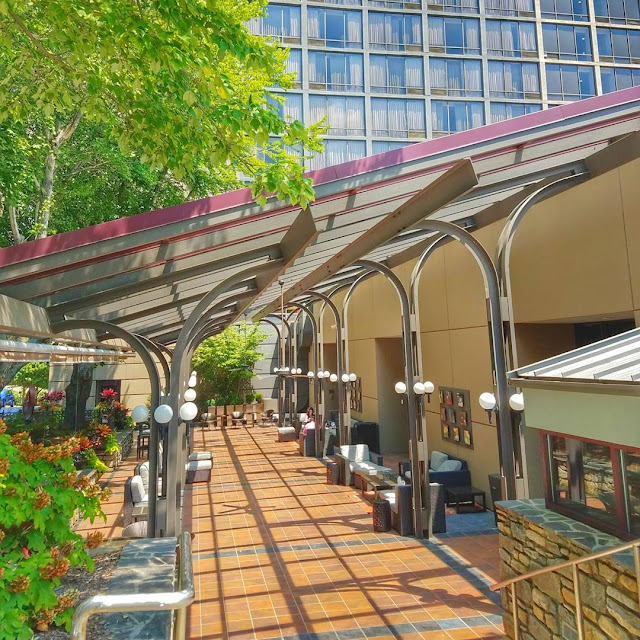 Outdoor patio at Renaissance Downtown Asheville Hotel