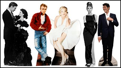 life-sized, celebrity cardboard cutouts of Hollywood legends