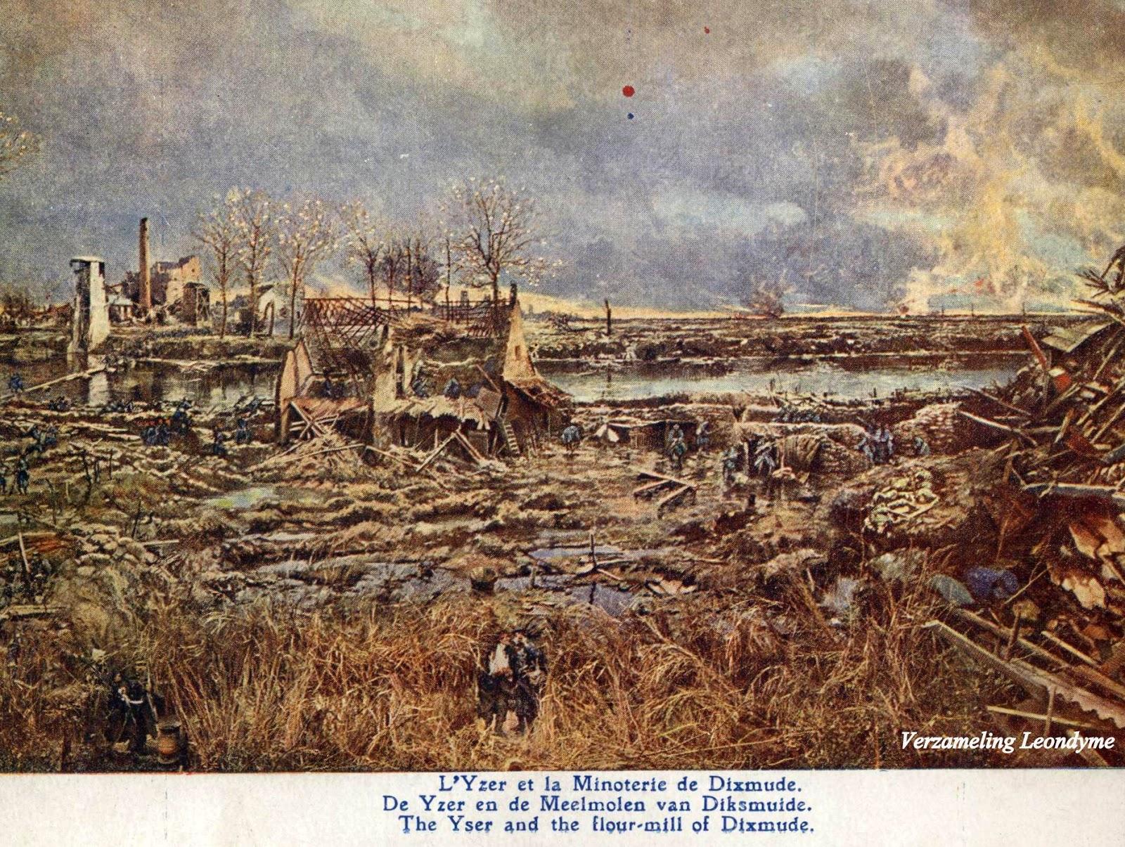 Slag aan de  IJzer door Alfred Bastien.  De IJzer en de meelmolen van Diksmuide. Verzameling Leondyme