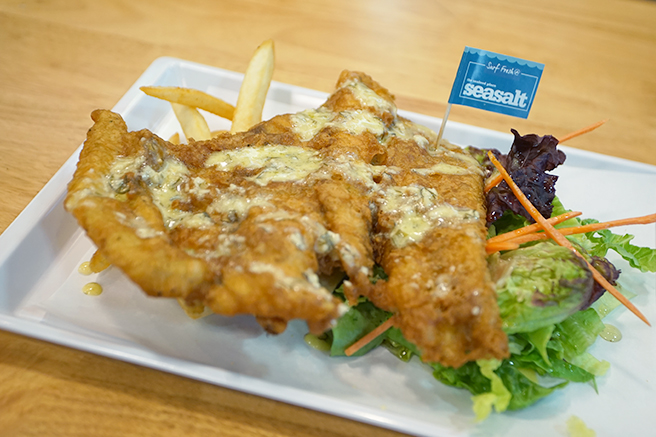 Hand battered fish served
