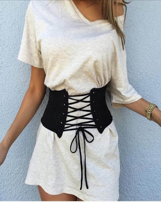 outfit informal con corset negro tumblr de moda juvenil